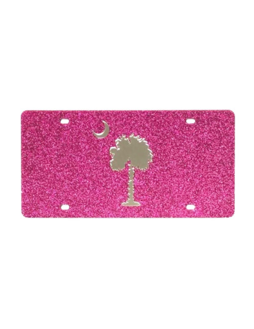 Pink glitter palmetto moon license plate Barefoot Campus Outfitter